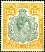 Bermuda 1944 12s6d Grey And Pale Orange Sg120ce And039broken Lower Right Scrolland039 Fin