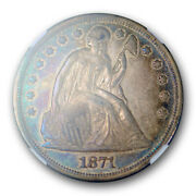 1871 1 Seated Liberty Dollar Ngc Au 58 About Uncirculated Cac Blue / Purple ...