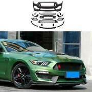 Gt350 Primer Black Front Center Mesh Grille Grill Cover For Ford Mustang 2015-17