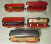 5 Marx 6 4 Wheel Tin Cars Red Frames 555 C And S Refrig 552 553 554 Hopper 556