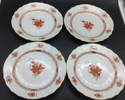 4 Herend Hungary Chinese Bouquet Red Rust 9 Luncheon Lunch Plates Lot Set