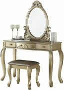 Bobkona Pdex- Oval Shape Mirror Vanity Table With Stool Set Champagne
