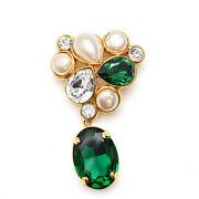 Color Stone Pearl Swing Brooch 26 Gold X Green P0931