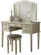 Bobkona F4079 St. Croix Collection Vanity Set With Stool Silver