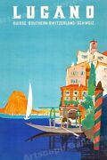 """1940s """"lugano Southern Switzerland"""" Vintage Style Swiss Travel Poster Home Decor"""