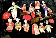 Lge Collection Very Very Old Antique Japanese Dolls -mache,bisque,cloth