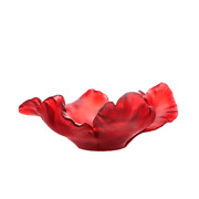 Daum Crystal Large Tulip Bowl In Red 03579-3 France