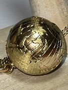 Huge Vintage 18k Yellow And Rose Gold World Globe Pendant Charm Heavy, Scientific