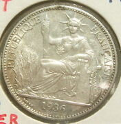 French Indo-china, 50 Cents, 1936, Paris, Km 4a.2, Silver Lovely Coin