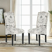 2pcs High Back Home Dining Chair Bedroom Makeup Chair Hotel Solid Wood Chair