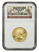 2007-w Jeffersons Liberty 10 Ngc Ms70 - First Spouse .999 Gold
