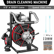 Commercial Sewer Snake Drain Auger Cleaner 100ft Long 1/2 W/ Cutter Foot Switch