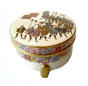 Satsuma Box With Marching Warriors Antique - Meiji Period