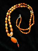 Agate Carnelian Bead Necklace And Pendant Calligraphy Antique