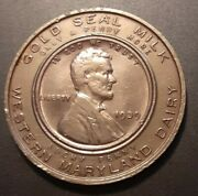 Rare All Copper Encased 1939 Penny Coin Gold Seal Milk Western Maryland Dairy