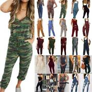 Womens Summer Drawstring Slim Rompers Overall Pockets Playsuit Dungaree Jumpsuit