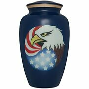 Blue Cremation Urn With American Flag And Bald Eagle - Funeral Urn For Human Ash