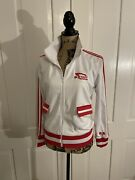 In N Out Burger Jacket White Red Stripe Collared S Small Fall Winter Novelty
