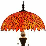 Red Wisteria Style Floor Standing Lamp W16h64 Inch Tall Stained Glass Sh