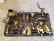 Vintage Lot Of 22 Brass Home Decor Items, Xmas, Bells, Animals, Cups, Etc..