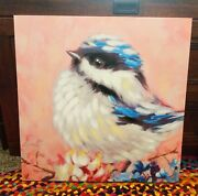 Pier 1 Bird Bluejay Colorful Canvas Wall Art Painting 24x24 Discontinued Rare