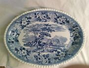 14 Flow Blue Adams Cattle Scene With Floral Border China Platter Circa 1910