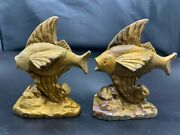 Antique Cast Iron Heavy Metal Gold Fish Bookends