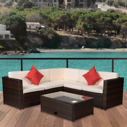 4 Pcs Outdoor Patio Pe Rattan Wicker Sectional Furniture With Cushioned Pillows