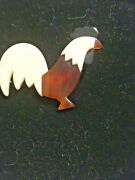 Laminated Celluloid Lea Stein Paris Pin Brooch Vintage Rooster Farm Animal