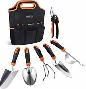 Garden Tool With 6 Pieces Tools Set And Storage Tote Bag, Hard Stainless Steel