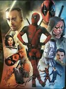 Deadpool Sdcc 2016 Signed Poster Stan Lee Rob Liefeld Tim Miller Rare Comic Con