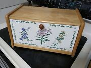Vintage Wooden Bread Box With White Floral Door 16 X 8 3/4
