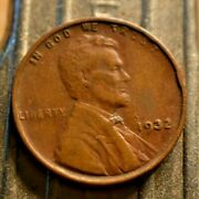 1932-p Lincoln Wheat Cent 1c With Errors On Letters And S 9, 3, And 2.  8750