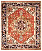 Vintage Hand-knotted Carpet 7'10 X 9'8 Traditional Dark Copper Wool Area Rug