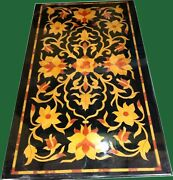 24 X 48 Inch Marble Dining Table Top Unique Floral Design Center Table For Home