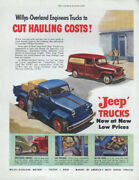 Willys-overland Trucks Cut Hauling Costs Pickup And Panel Truck Ad 1949 Sep