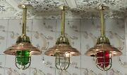 Vintage Retro Stage Brass Bulkhead Mount Lamp With Copper Shade Lot Of 3