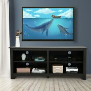 58 Wooden Tv Stand Up To 65 Farmhouse Universal Stand W/storage Shelf