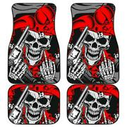 Set Of 4 - Awesome Gun Gothic Flaming Skull Car Mats Day Of The Dead Floor Mat