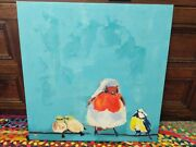 Pier 1 Birds On Wire Colorful Canvas Wall Art Painting 24x24 Discontinued Rare