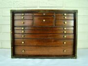 Rare Antique Marquetry Inlaid Mahogany Machinist Chest 60 Tools And Orig Receipt
