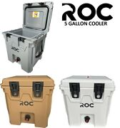 Roc 20qt-5 Gallon Rotomolded Water Beverage Drinking Cooler White Tan And Gray