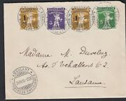 1915 Switzerland Suisse Helvetia Multi-stamp Postal Cover Ambulant To Lausanne
