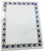 36 X 48 Inch Marble Dining Table Top Lapis Lazuli Stone Inlaid Work Patio Table