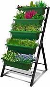 4ft Vertical Raised Garden Bed - 5 Tier Food Safe Planter Box For Outdoor And