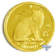 K24 Isle Of Man Cat Gold Coin 1/25 Oz 1.24g 1990 In The Back Alley Beckoning