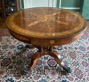 Maitland-smithandnbsp3030-773 Mahogany Round Table With Inlays Pre-ownedandnbsp