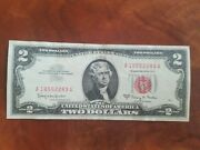 1963 A Two Dollar Note Red Seal 2 Bill Us Currency Old Money