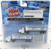 N White Wc22 Tractor/trailer Set 2 - Ford Exchange Engines - Mini-metals 51189