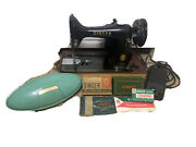 Vintage Singer Portable Model 99 Sewing Machine Working 1955 + Accessories Clean